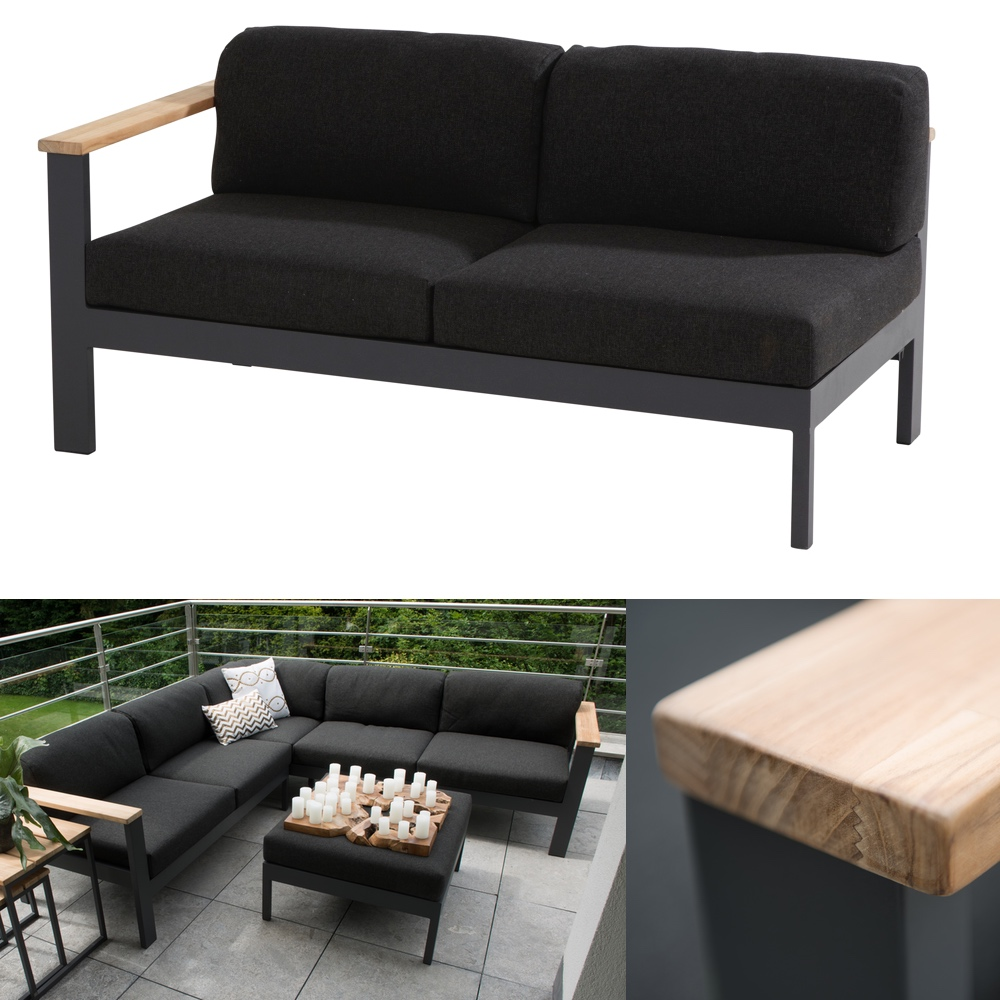 gartenbank 4seasons orion 2er sofa endmodul armlehne rechts teak mit kissen vom. Black Bedroom Furniture Sets. Home Design Ideas