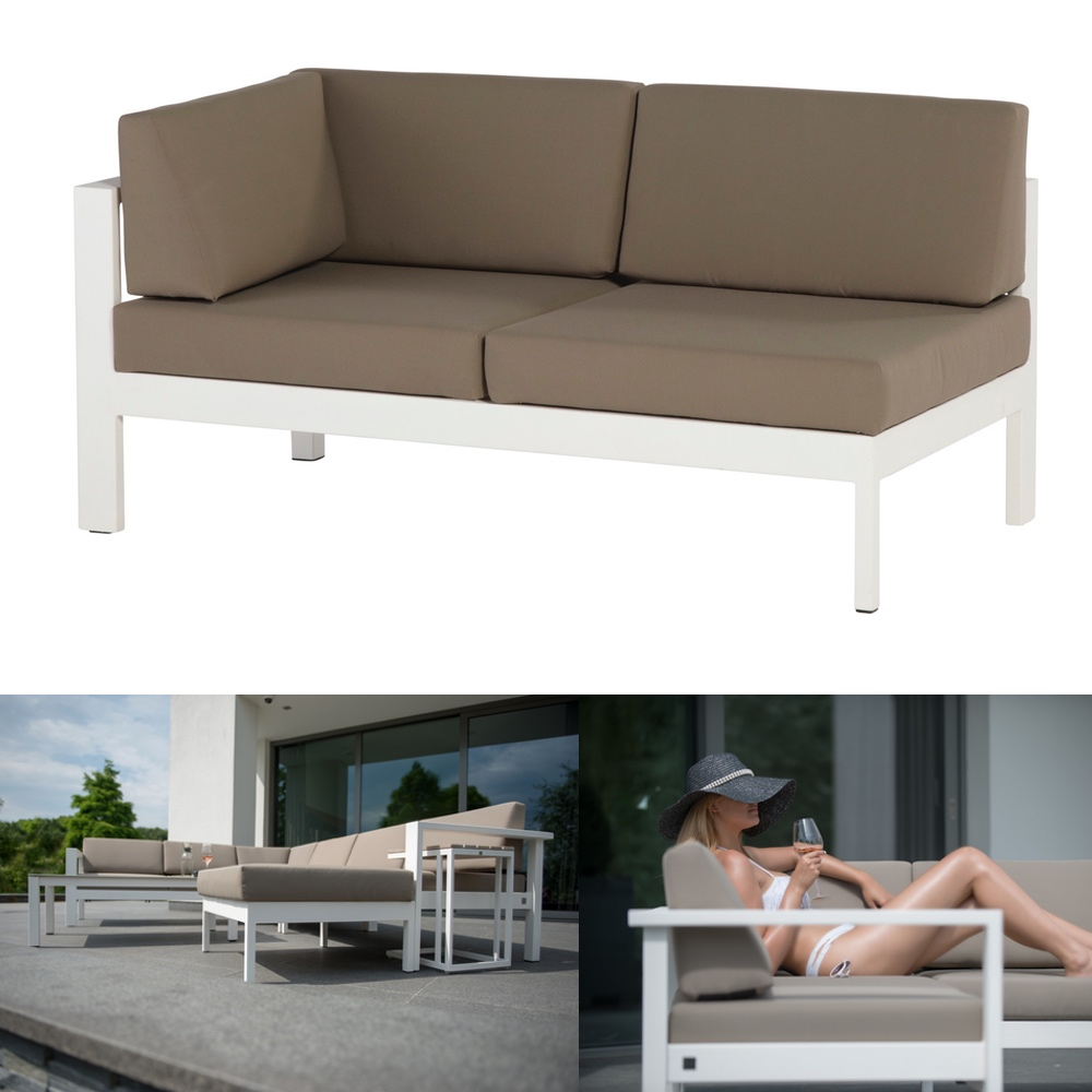 gartenbank 4seasons cosmo wei 2er sofa armlehne rechts loungeelement vom gartenm bel. Black Bedroom Furniture Sets. Home Design Ideas