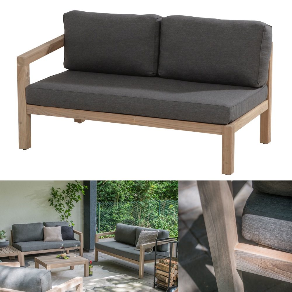 gartenbank 4seasons evora 2 er sofa armlehne rechts teakholz inkl kissen vom gartenm bel. Black Bedroom Furniture Sets. Home Design Ideas