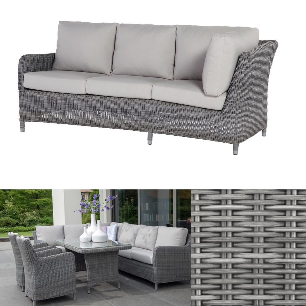 Gartenbank «Indigo ROCK» 3 Sitzer Sofa Geflecht Premium Inkl. Kissen