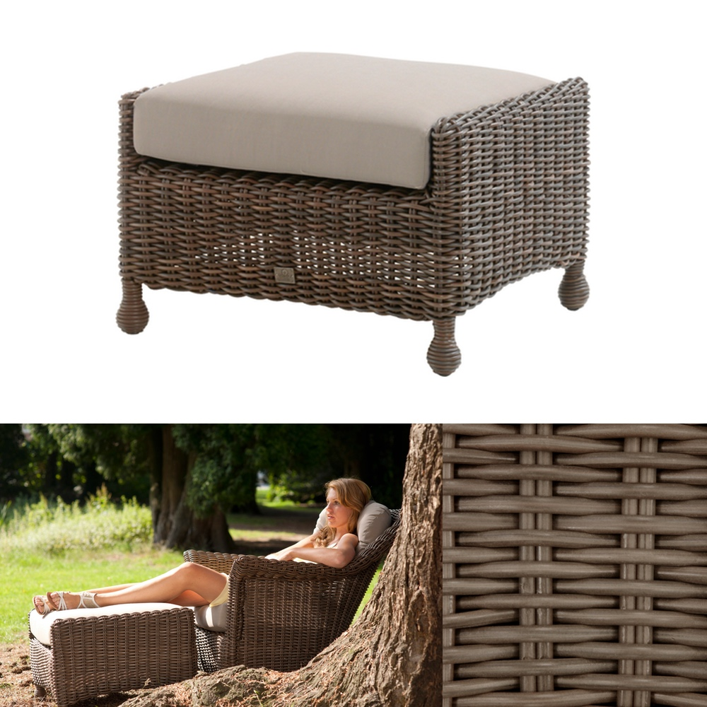 hocker 4seasons madoera fu auflage polyrattan premium geflechthocker vom gartenm bel fachh ndler. Black Bedroom Furniture Sets. Home Design Ideas