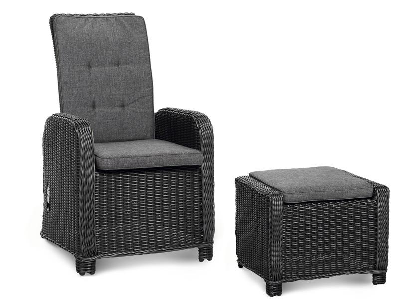 Lounge set best sevilla sessel hocker polyrattan for Runder korbsessel