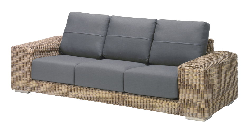 premium geflecht couch 4seasons kingston 3er sofa polyrattan inkl kissen loungem bel rattan. Black Bedroom Furniture Sets. Home Design Ideas