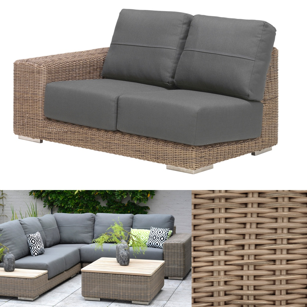 Gartenbank 4Seasons «Kingston PURE» 2er Sofa, Armlehne rechts, Loungeelement