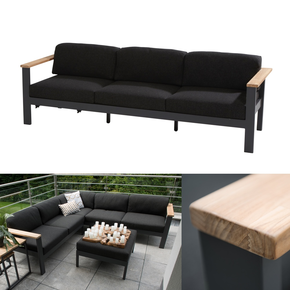 gartenbank 4seasons orion 3er sofa couch teak mit kissen vom gartenm bel fachh ndler. Black Bedroom Furniture Sets. Home Design Ideas