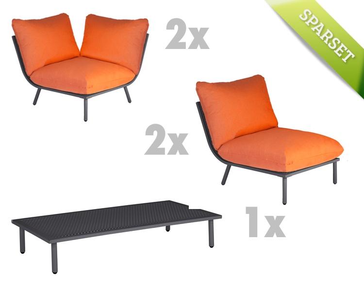 sitzgruppe alexander rose beach flint lounge kissen orange gartenm bel set 1 vom gartenm bel. Black Bedroom Furniture Sets. Home Design Ideas